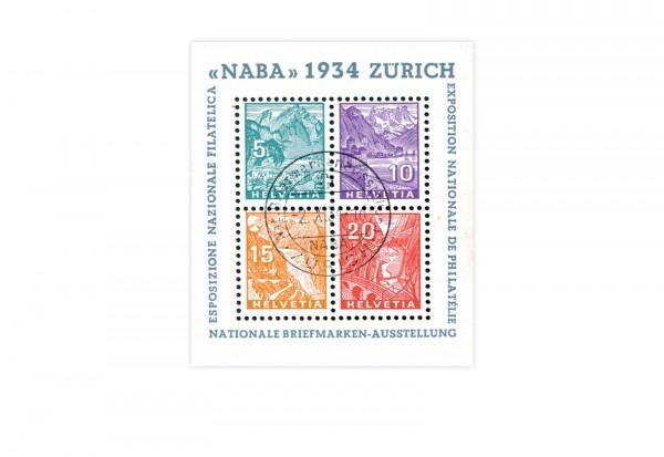 Breifmarken Schweiz NABA 1934 Michel-Nr. Block 1 gestempelt