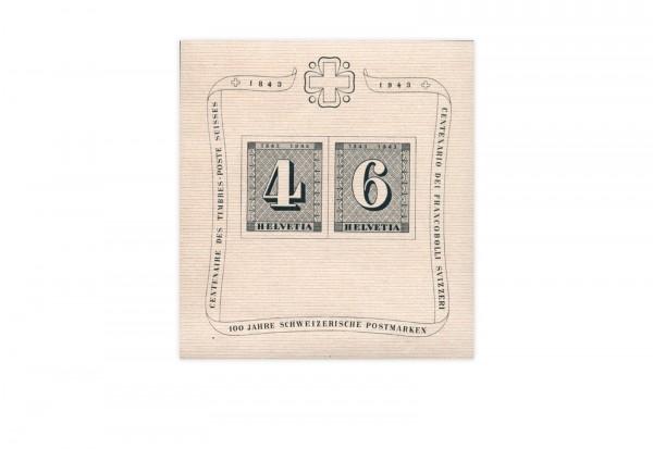 Schweiz Block 8 ** 100 Jahre Schweizer Briefmarken