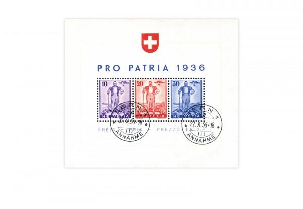 Briefmarken Schweiz Pro Patria 1936 Michel-Nr. Block 2 gestempelt