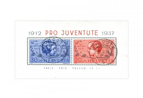 Briefmarken Schweiz Pro Juventute 1937 Block 3 gestempelt