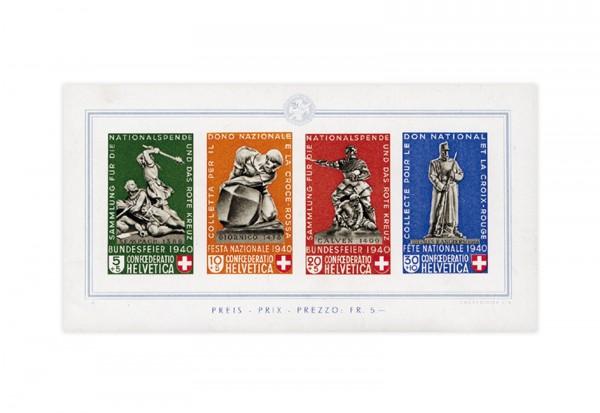 Briefmarken Schweiz Pro Patria 1940 Michel-Nr. Block 5 postfrisch