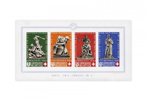 Briemarken Schweiz Pro Patria 1940 Michel-Nr.Block 5 gestempelt
