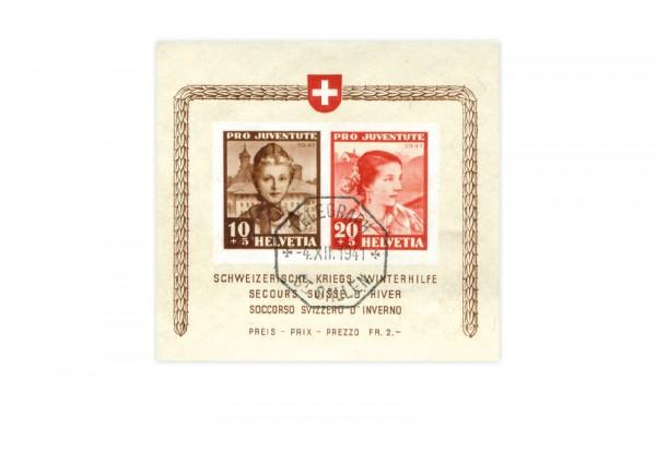 Briefmarken Schweiz Pro Juventute 1941 Michel-Nr. Block 6 gestempelt