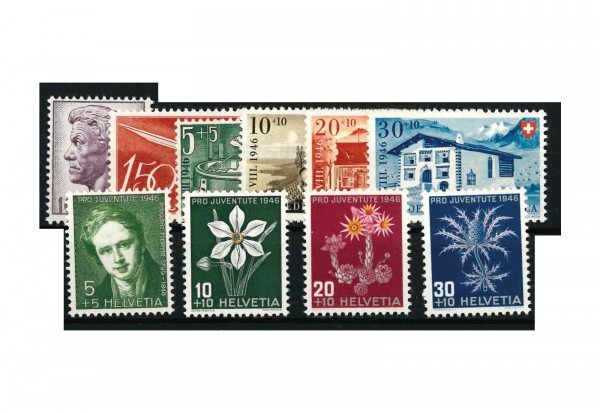 Briefmarken Schweiz Jahrgangsatz 1946 Michel Nr. 469-78 postfrisch