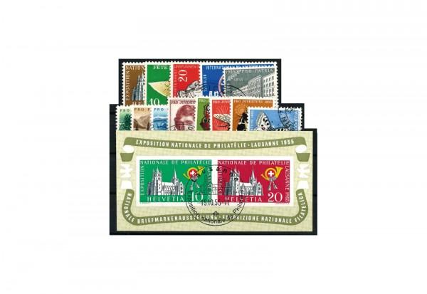 Briefmarkensatz Schweiz Jahrgang 1955 Michel Nr. 607-622 gestempelt