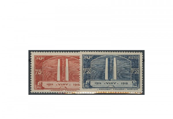 Briefmarke Frankreich Einweihung des Denkmals bei Vimy 1936 Michel-Nr. 322/23 postfrisch