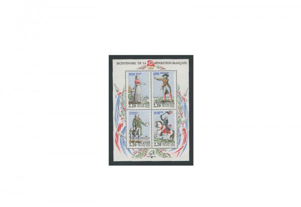 Briefmarken Frankreich 200. Jahrestag der Französischen Revolution 1989 Block 8 postfrisch