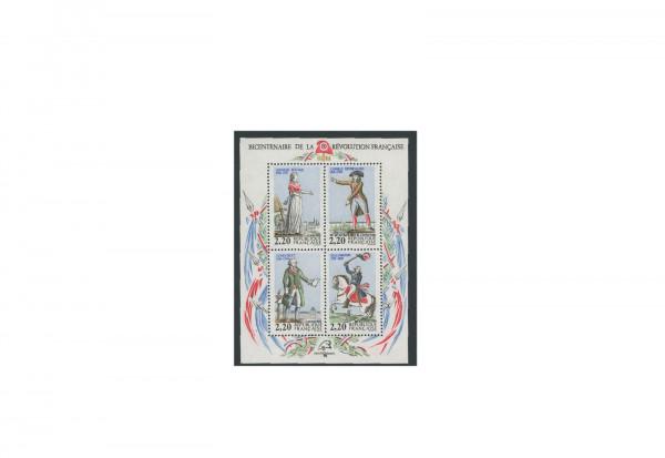 Briefmarken Frankreich 200. Jahrestag der Französischen Revolution 1989 Block 8 gestempelt