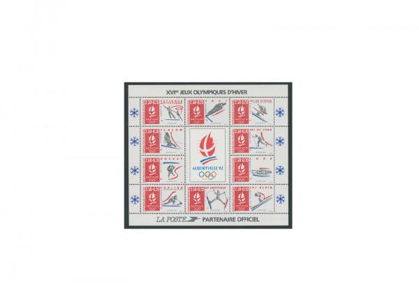 Briefmarken Frankreich Olympische Winterspiele 1992 Block 12 gestempelt