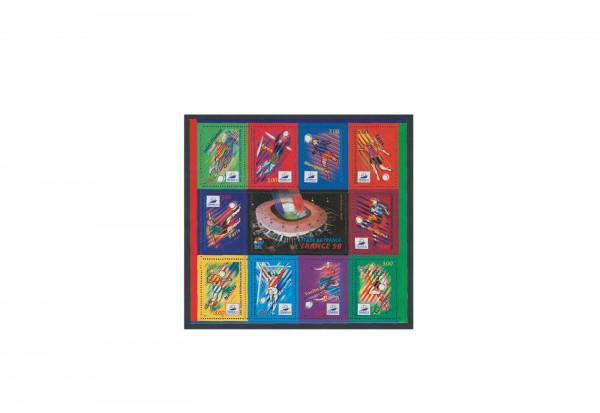 Briefmarken Frankreich Fußball Weltmeisterschaft 1998 Block 17 gestempelt