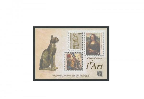 Briefmarken Frankreich Meisterwerke der Kunst 1999 Block 20 postfrisch