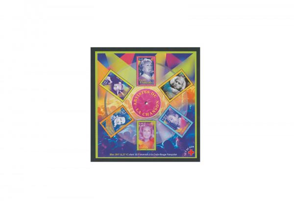 Briefmarken Frankreich Chansonsänger 2001 Block 26 postfrisch