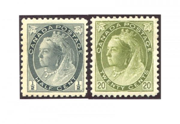 Kanada Königin Viktoria 1898 Mi.Nr. 62 und 72 **/*