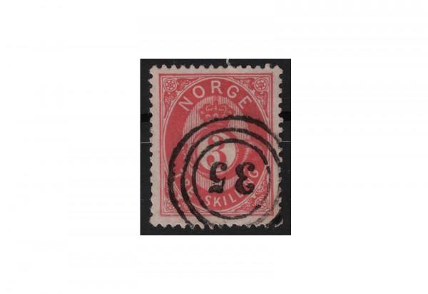 Norwegen Freimarke: Posthorn 1872 NOR Michel Nr. 18 gestempelt