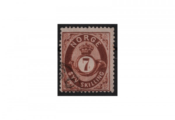 Norwegen Freimarke: Posthorn 1872 NOR Michel Nr. 21 gestempelt