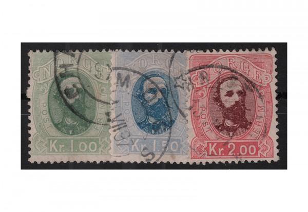 Norwegen Freimarken: König Oskar II. 1878 NOR Michel Nr. 32/34 gestempelt
