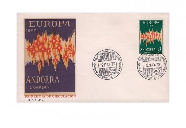 Spanisch-Andorra FDC Europa CEPT 1972 Mi.Nr. 71