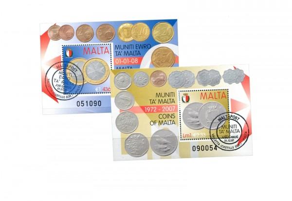 Malta Euroeinführung-Blocks gestempeltes Blockpaar mit ESST